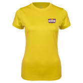 Ladies Syntrel Performance Gold Tee-Prairie Fire Logo