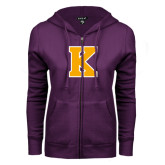 ENZA Ladies Purple Fleece Full Zip Hoodie-K