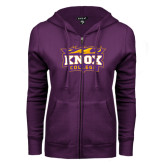 ENZA Ladies Purple Fleece Full Zip Hoodie-Knox College Logo