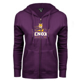 ENZA Ladies Purple Fleece Full Zip Hoodie-Knox Mascot Logo