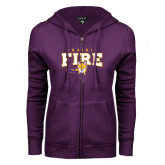 ENZA Ladies Purple Fleece Full Zip Hoodie-Praire Fire Mascot Logo