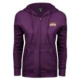 ENZA Ladies Purple Fleece Full Zip Hoodie-Prairie Fire Logo