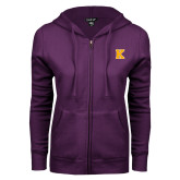 ENZA Ladies Purple Fleece Full Zip Hoodie-K