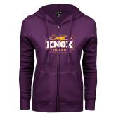 ENZA Ladies Purple Fleece Full Zip Hoodie-Knox College Logo