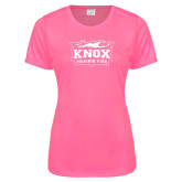 Ladies Performance Hot Pink Tee-Prairie Fire Logo
