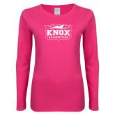 Ladies Fuchsia Long Sleeve T Shirt-Prairie Fire Logo