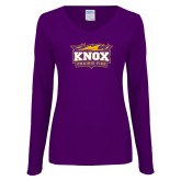 Ladies Purple Long Sleeve V Neck T Shirt-Prairie Fire Logo