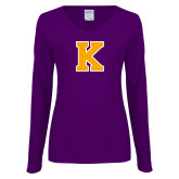 Ladies Purple Long Sleeve V Neck T Shirt-K