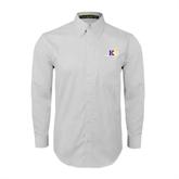White Twill Button Down Long Sleeve-Prairie Fire Logo