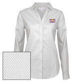 Ladies Red House Diamond Dobby White Long Sleeve Shirt-Prairie Fire Logo