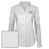Ladies Red House Diamond Dobby White Long Sleeve Shirt-K Club
