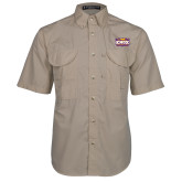 Khaki Short Sleeve Performance Fishing Shirt-Prairie Fire Logo
