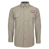Khaki Long Sleeve Performance Fishing Shirt-Prairie Fire Logo