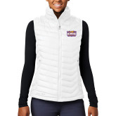 Columbia Lake 22 Ladies White Vest-Prairie Fire Logo
