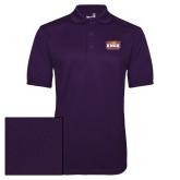 Purple Dry Mesh Polo-Prairie Fire Logo