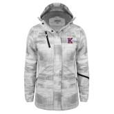 Ladies White Brushstroke Print Insulated Jacket-K