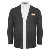 Charcoal V Neck Cardigan w/Pockets-Prairie Fire Logo
