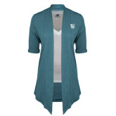Ladies Teal Drape Front Cardigan-Prairie Fire Logo