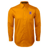 Gold Twill Button Down Long Sleeve-K