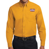 Gold Twill Button Down Long Sleeve-Prairie Fire Logo