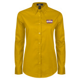Ladies Gold Twill Button Down Long Sleeve-Prairie Fire Logo