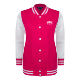 Ladies Pink Raspberry/White Fleece Letterman Jacket-Prairie Fire Logo