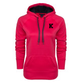 Ladies Pink Raspberry Tech Fleece Hooded Sweatshirt-K