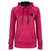 Ladies Pink Raspberry Tech Fleece Hoodie-K