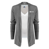 Ladies Heather Grey Open Front Cardigan-Institutional Logo