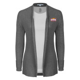 Ladies Heather Grey Open Front Cardigan-Prairie Fire Logo