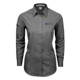 Ladies Grey Tonal Pattern Long Sleeve Shirt-Institutional Logo