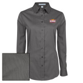 Ladies Grey Tonal Pattern Long Sleeve Shirt-Prairie Fire Logo