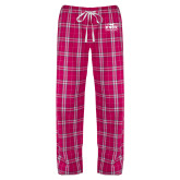 Ladies Dark Fuchsia/White Flannel Pajama Pant-Prairie Fire Logo