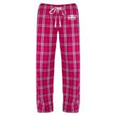 Ladies Dark Fuchsia/White Flannel Pajama Pant-Prairie Fire Logo