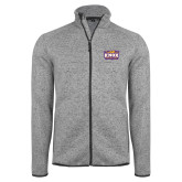 Grey Heather Fleece Jacket-Prairie Fire Logo