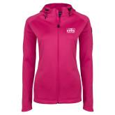 Ladies Tech Fleece Full Zip Hot Pink Hooded Jacket-Prairie Fire Logo