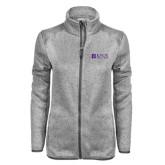 Grey Heather Ladies Fleece Jacket-Institutional Logo