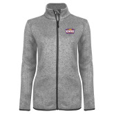 Grey Heather Ladies Fleece Jacket-Prairie Fire Logo