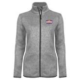 Grey Heather Ladies Fleece Jacket-Prairie Fire Logo