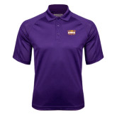 Purple Textured Saddle Shoulder Polo-Prairie Fire Logo