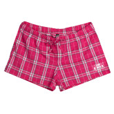 Ladies Dark Fuchsia/White Juniors Flannel Plaid Boxer-Prairie Fire Logo