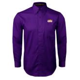 Purple Twill Button Down Long Sleeve-Prairie Fire Logo