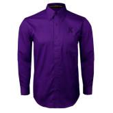 Purple Twill Button Down Long Sleeve-K