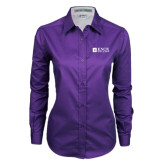 Ladies Purple Twill Button Down Long Sleeve-Institutional Logo