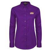 Ladies Purple Twill Button Down Long Sleeve-Prairie Fire Logo