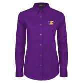 Ladies Purple Twill Button Down Long Sleeve-K Club