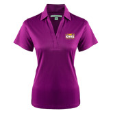 Ladies Purple Performance Fine Jacquard Polo-Prairie Fire Logo