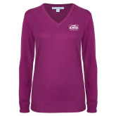 Ladies Deep Berry V Neck Sweater-Prairie Fire Logo