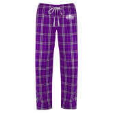 Ladies Purple/White Flannel Pajama Pant-Prairie Fire Logo