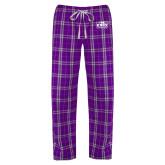 Ladies Purple/White Flannel Pajama Pant-Prairie Fire Logo